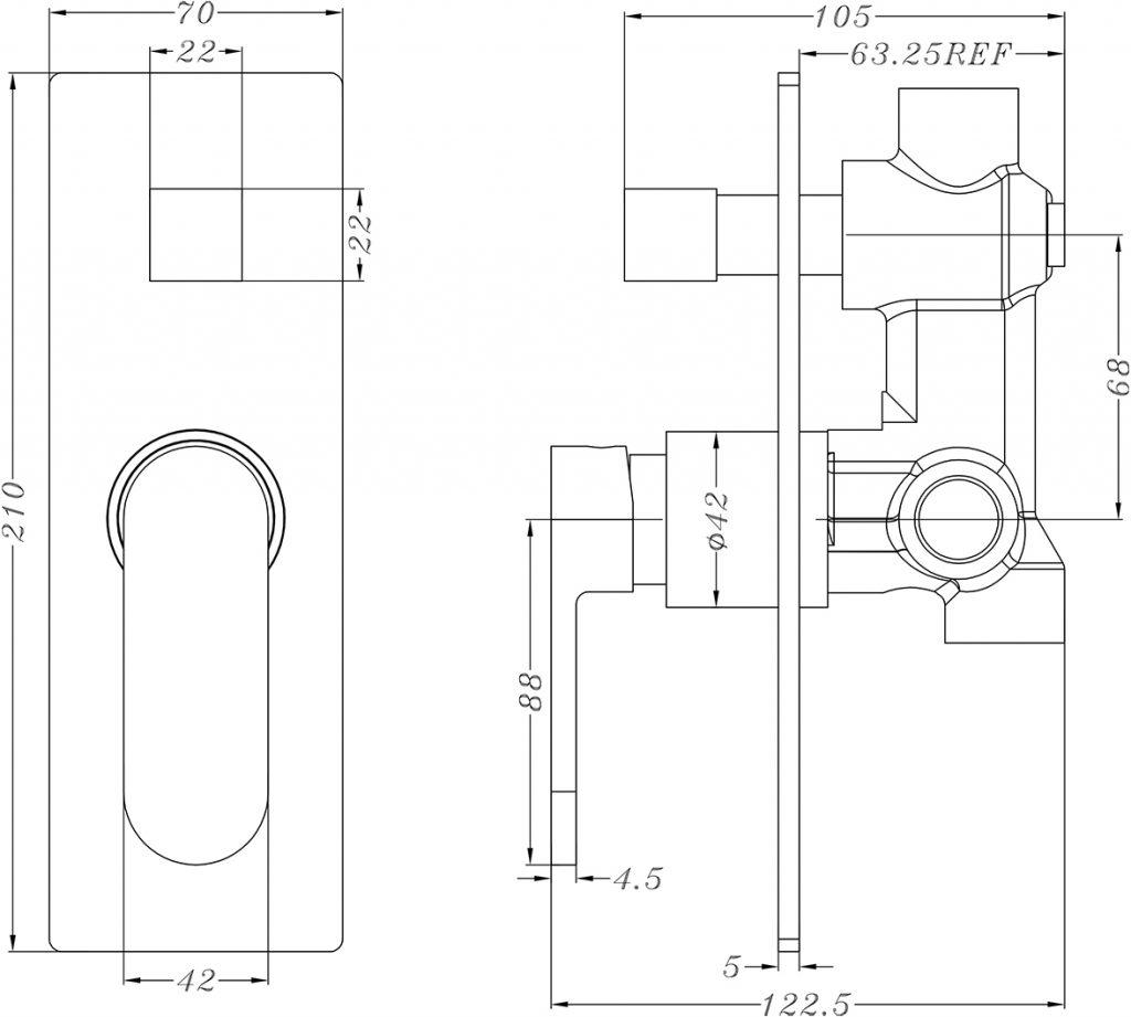 Ecco Shower Diverter Mixer Dimensions