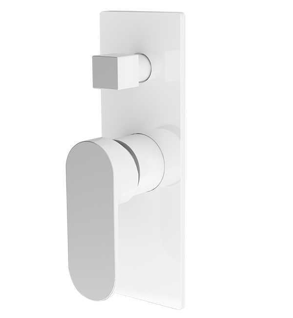 Ecco Shower Diverter Mixer White Chrome