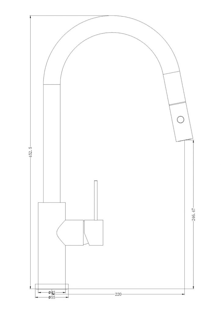 Mecca Pull Out Sink Mixer DImensions
