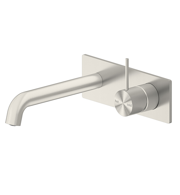 Mecca Wall Basin Mixer Brushed Nickel Handle Up