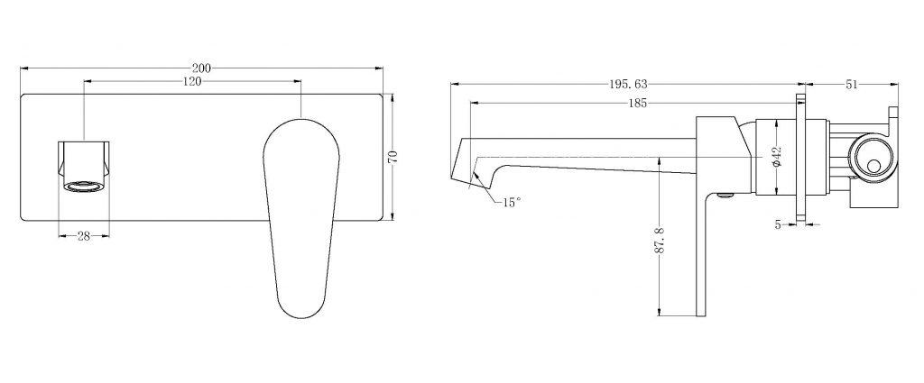 Victor Wall Basin Mixer Dimensions