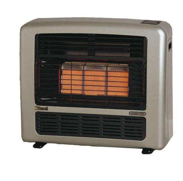 ROF1020 rinnai granada 252 gas room heater platinum silver