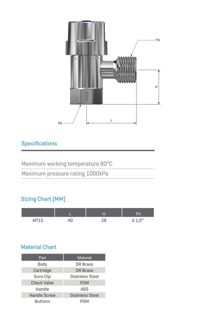 Modular Head Cistern Mini Stop 1/4 turn