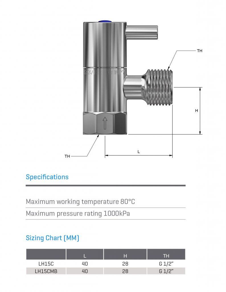 Lever Handle 1/4 Turn Cistern Stop Ceramic Disc