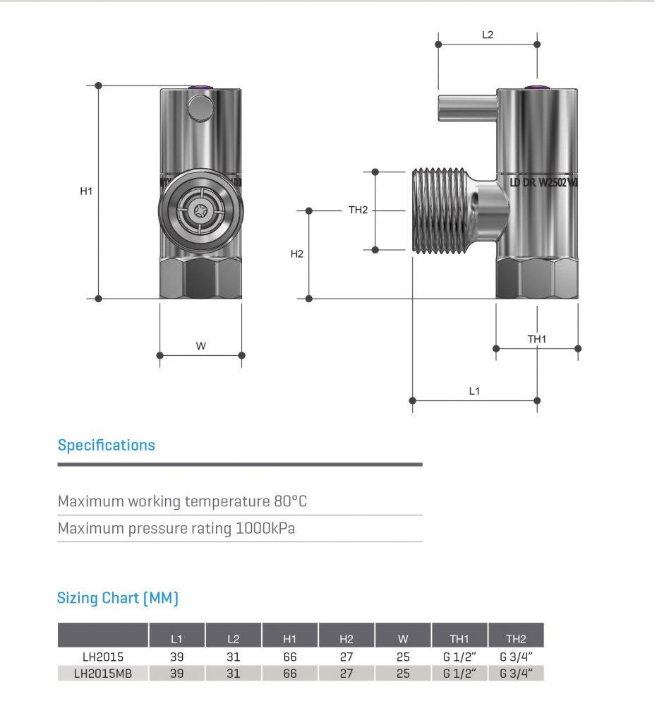 Lever Handle 1/4 turn Washing Machine Stop