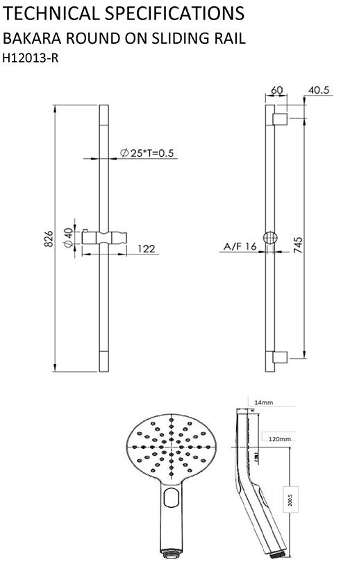 shr1085 - bakara shower round on sliding rail matte black specifications