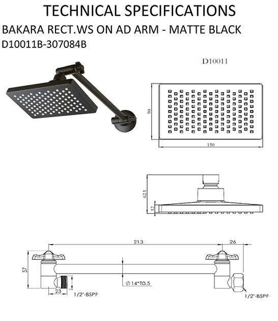 shr1095 Bakara All Directional rectangular head matte black specifications