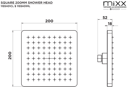 SHR2020 - Mixx Aquare 200mm ABS Shower Head Matt Black