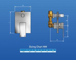 tac1015 Cubico SHower Mixer Diverter