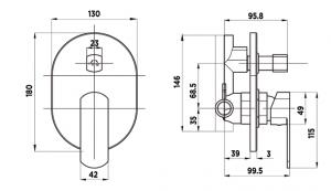 v1020 Visage Chrome Shower Diverter Mixer dimensions